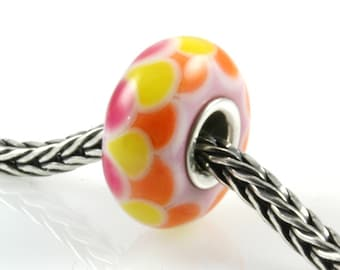 Pink Yellow Orange Glass Artisan Lampwork Glass Bead SRA OOAK
