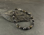 Manifestation, Success & Protection Bracelet with Gold sheen Obsidian, Black Tourmaline and Hematite