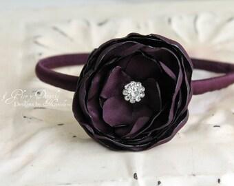 Aubergine Headband - Eggplant Dark Plum - Bridal Bridesmaids Gifts - Flower girls - Many Colors