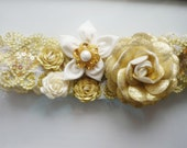 Gold and Ivory   Wedding Garter Set   -Decorated with Roses and Dahlia