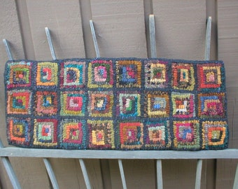PrimiTive Folkart Hit or Miss Squares Hooked Rug Runner  LJO Collection Hooked Rug