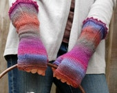 Women's fingerless mittens with lace edging - in fuchia, periwinkle and coral