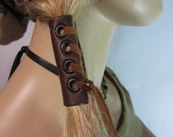 Leather Corset Hair Wrap Ponytail Holder Hair Jewelry BOHO Bohemian Clothing Resort  Wear  Brown