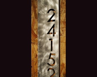 Custom Modern Floating House Numbers Vertical Offset in Aluminum