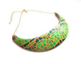 Statement bib choker necklace art deco style spring colors polymer clay necklace crescent shaped gold emerald green necklace