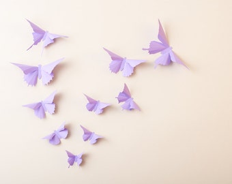 3D Wall Butterflies: Lilac Butterfly Silhouettes for Girls Room, Nursery, and Home Art Decor