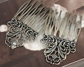 5Pcs Wholesale Antique bronze plated Brass Filigree hair comb Setting NICKEL FREE(COMBSS-4)