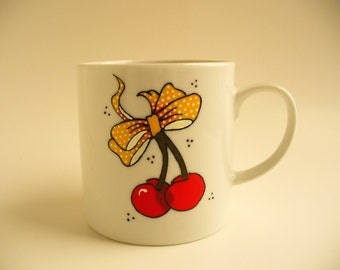 ON SALE ! Hand painted Cup: Rockabilly cherries with yellow and white dots bow