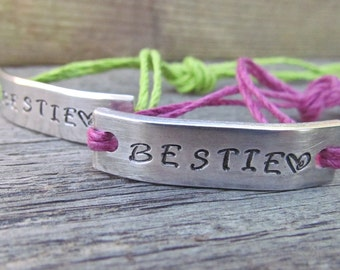 Bracelets SET of 2 BESTIE Hand Stamped Tie On Hemp Cord Couples Friendship BFF Best Friends Gift