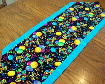 Birthday Table Runner in Bright Colors and Black with Balloons - Kitchen, Party Decoration, Birthday Decoration