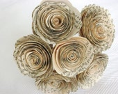 "Vintage book page spiral 1.5-1.75""  roses paper flowers small bud vase bouquet"