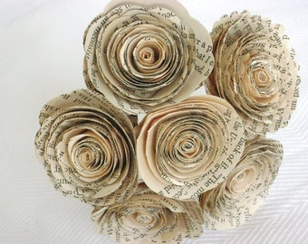 "Vintage book page spiral 1.5-1.75""  roses paper flowers small bud vase bouquet farmhouse decor everlasting recycled ready to ship"