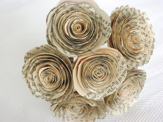 """Vintage book page spiral 1.5-1.75""""  roses paper flowers small bud vase bouquet farmhouse decor everlasting recycled ready to ship"""