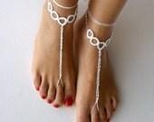 Barefoot Sandals,white , wedding ,hearted, Bikini , Women , Beach , Bridal Sandals , Bridal Jewelry ,shoes , READY TO SHIP