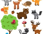 Forest Animal Clip Art, Forest Animals Clipart, Woodl Animal Clip Art, Woodland Animals Clipart - Commercial and Personal