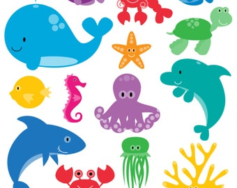 Sea Animals Photoshop Brushes, Sea Creatures Photoshop Brushes - Commercial and Personal