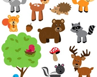 Forest Animal Clip Art, Forest Animals Clipart, Woodland Animal Clip Art, Woodland Animals Clipart - Commercial and Personal