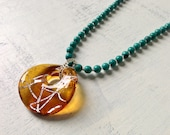 SALE Turquoise Necklace with Amber Glass