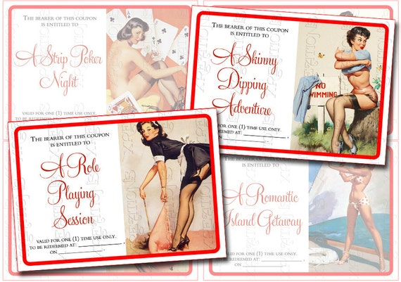 Hot and Sexy Valentine Hot and Sexy Love Coupons Pinup Themed in ATC / ACEO card size