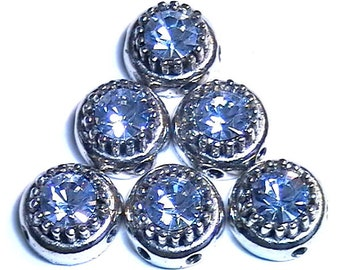 Six 2 Hole Slider Beads 2 Hole Spacer Beads 7mm Lt. Sapphire Austrian Crystals Domed Crown Beads Crystal Bead Rhinestone Bead Sapphire Bead