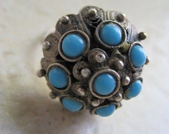 Vintage Turquoise Ring - Statement Ring - Etruscan Style Ring - Sterling Silver - Silver Filigree - Turquoise Jewelry - Dome Ring - Size 7