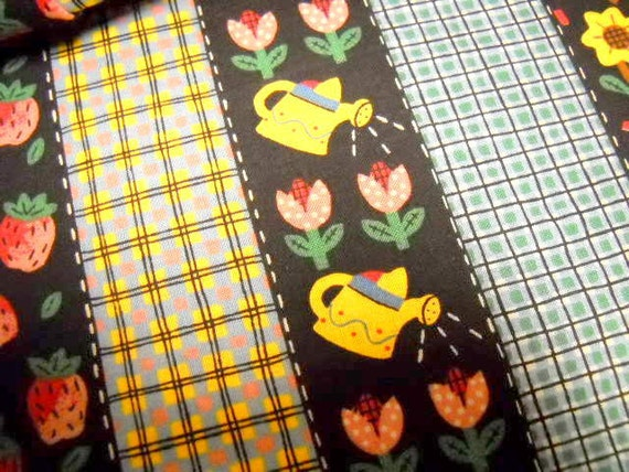Garden Theme Striped Fabric, 1 yd Fabric, Sewing Notions,  Bird House Flowers Berries