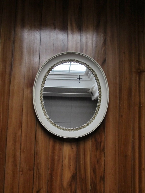 Vintage white gold framed mirror by cookarone on etsy for White and gold mirror