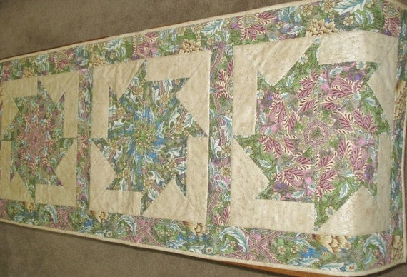 Was 33.95 now 23.00 Table Runner with Stack n' Whack Blocks of Pinks, Mauve, Green and Blues