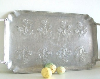 Hand Forged Metal Aluminum Springtime Serving Tray
