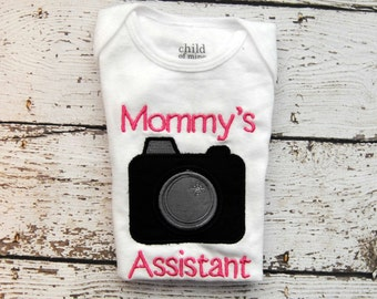 Mommy's Assistant with Camera Embroidered Body Suit or Shirt