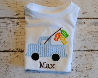 Truck with Fishing Pole and Fish Embroidered Personalized Shirt or Bodysuit