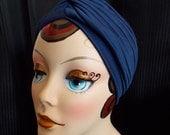 Navy Blue, Vintage Style Turban, Retro Sun Bathing Cap