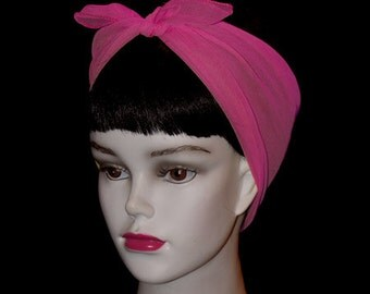 Hot Pink Rockabilly 50's Style Hair n' Neck Chiffon Scarf
