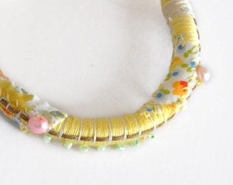 Summer Boho Bracelet Yellow Rope Bracelet Rope Bangle Bohemian Fiber Art Jewelry