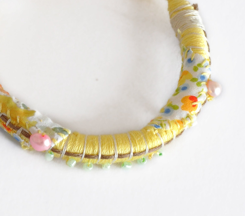 Summer Bracelets: Summer Boho Bracelet Yellow Rope Bracelet Rope Bangle Bohemian
