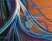 Purple Blue Teal Long Hair Feathers XL Feather Extensions Rooster Extension Plume Cheveux Extra Long Feathers for Hair Accessories, 15 pack