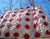 Vintage Feed Sack Quilt Top - Cream with Red 8 Point Stars - Hand Pieced - Classic