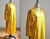 Vintage Gold Metallic Dress Size XL// Plus Size Metallic Gold Dress
