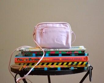 80s Vintage Carlos Falchi Pink Bag leather cross body bag// Vintage Pink Leather Purse