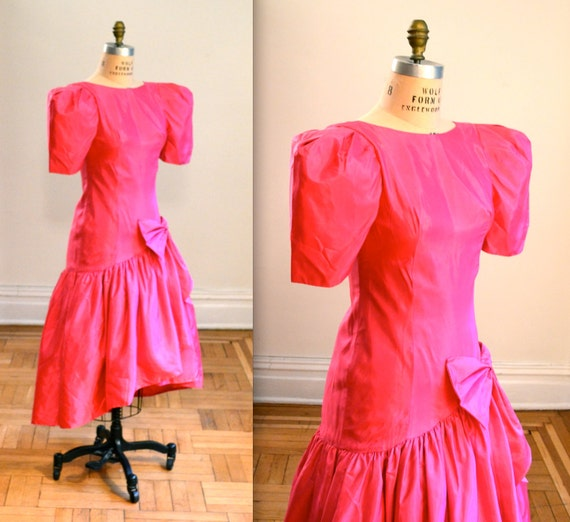 Bright Pink 80s Prom Dress/ Pink 80s Party 80s By