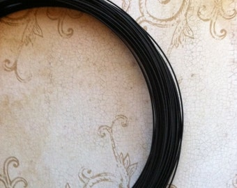 Millinery Wire and Steel Joiners 10 Yards 21 Gauge Black with 12 Steel Joiners