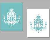"""Modern Chandelier Silhouette Duo - Set of two prints - Perfect for modern nursery, bathroom or dining room -8""""x10"""""""