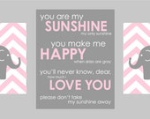 """Gray and Pink Nursery Prints  - Elephant Chevron and You are my Sunshine - Set of three - one 11""""x14"""" and two 8""""x10"""" prints"""