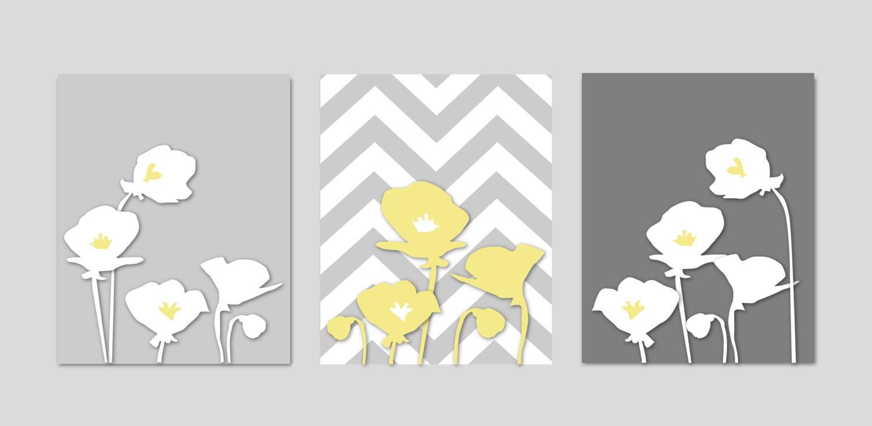 Yellow and grey bathroom art bedroom art botanical prints for Gray wall art for bathroom