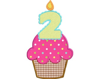 Second Birthday Cupcake With Candle APPLIQUE Machine Embroidery Designs