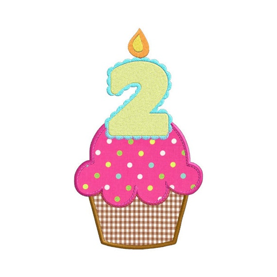 Second Birthday Cupcake With Candle APPLIQUE Machine