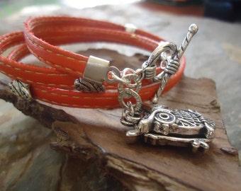SEWN IN ORANGE  wrap bracelet with owl & leafs (509)