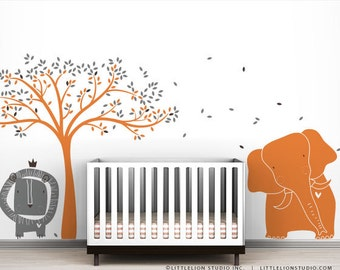 Modern Baby Zoo Wall Decal Mural by LittleLion Studio - Tree, elephant and Lion - Striking color combos that really work