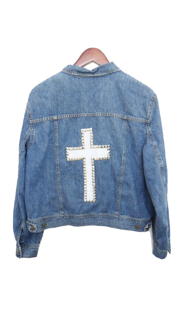 Studded Cross Jacket Denim Hand Painted White Cross With
