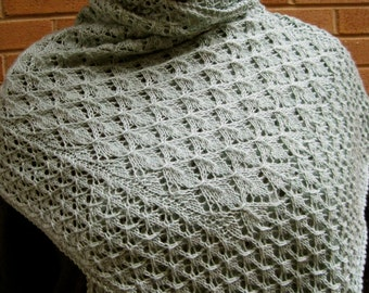 Knit Wrap Pattern:  Spring Leaf Lace Shawl Knitting Pattern